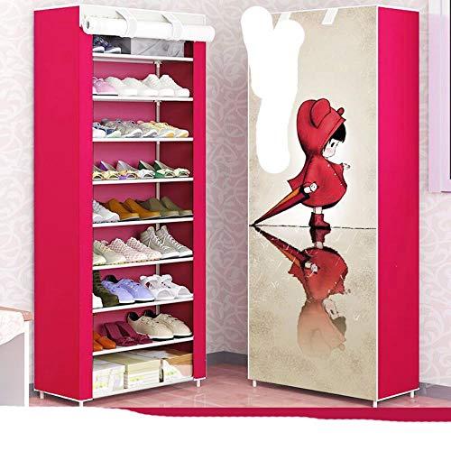 Zapatero combinado Zapato de almacenamiento de tela no tejida Zapato plegable a prueba de st O para zapatos-Rosa
