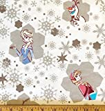 """Officially Licensed Fabric - Features ELSA, ANNA, OLAF, and SVEN on White Background 1/2 Yard x 44"""" Wide -- Unfinished Edge to Unfinished Edge (Need More than 1/2 Yard? Whenever Possible This Will Ship as ONE CONTINUOUS PIECE!) 100% Soft FLANNEL Cott..."""