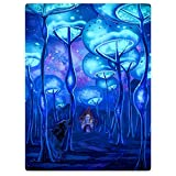 HommomH 60' x 80' Blanket Comfort Warmth Soft Cozy Flannel Easy Care Machine Wash Psychedelic Mushroom House