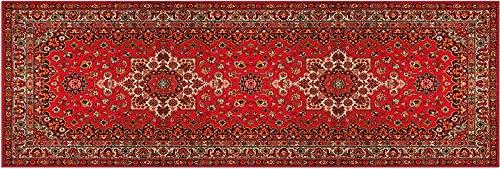 Matches21 Tapis de couloir en velours et latex lavable Motif persan Rouge beige 60 x 180 cm