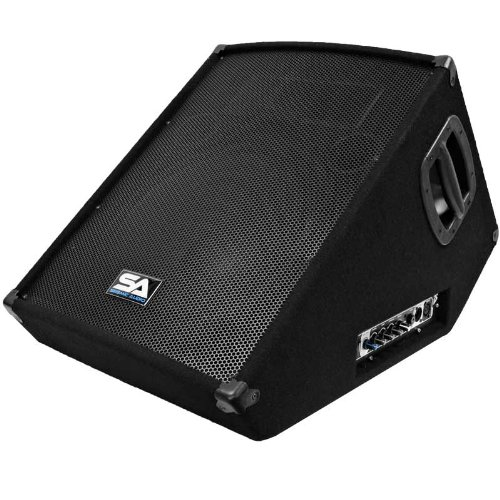 "Seismic Audio - SA-15MT-PW - Powered 2-Way 15"" Floor / Stage Monitor Wedge Style with Titanium Horn - 350 Watts RMS - PA/DJ Stage, Studio, Live Sound Active 15 Inch Monitor"