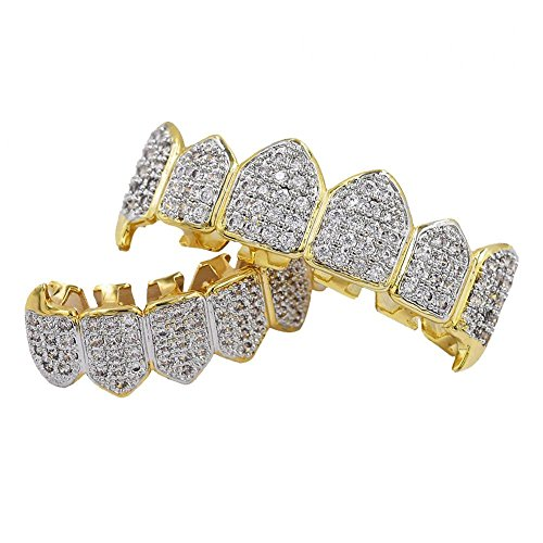 chiwanji 18 Karat Vergoldet Hip Hop Poker Faux Diamond Top & Bottom Teeth Caps Grills Set Für Frauen Männer - Gold