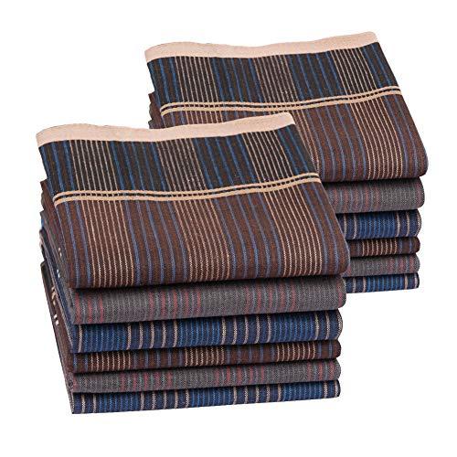 Houlife 100% 60S Cotton Mens Stripe Checkered Pattern Handkerchiefs Plaid Hankies 16x16'