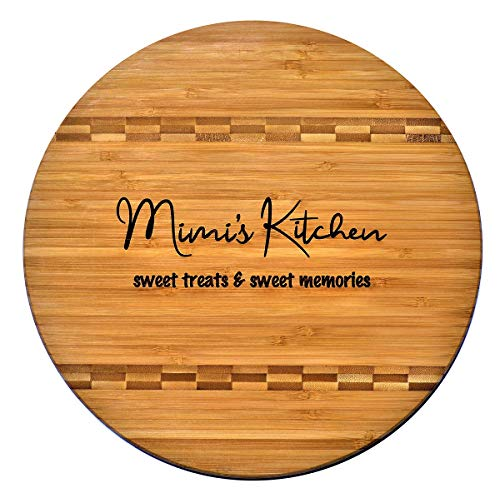 Mimi Gift - Bamboo Butcher Block Inlay Engraved Cutting Board - Mimi's Kitchen Sweet Treats Sweet Memories - Design Decor Birthday Mother's Day Christmas Best Grandma Mom Ever GK Grand 975 Round