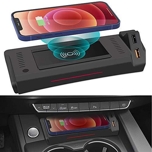 Coche Cargador Inalámbrico para Audi A4 2019-2021 A5 2020 2021 S4 S5 2021 RS4 RS5 2019 2021 Consola Central Panel, 15W Qi Carga Rápida Auto Teléfono Cargador con QC3.0 USBpara iPhone Samsung