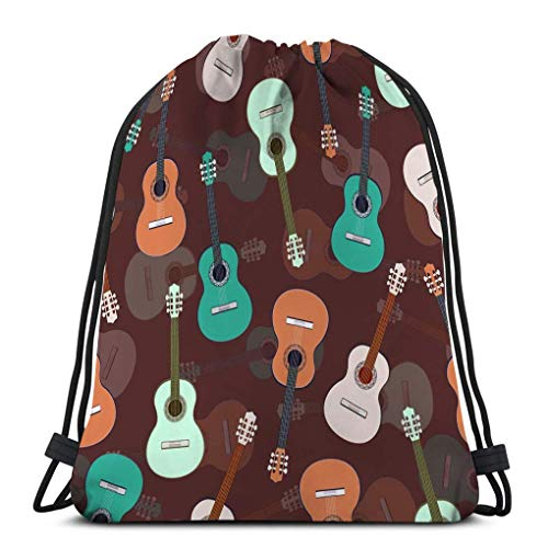 Kordelzugbeutel Kordelzug Rucksack Turnbeutel Gitarren mehrfarbige musikalische bunt gezeichnete Gitarre lila braun Wunderschön Beutel 36X43CM