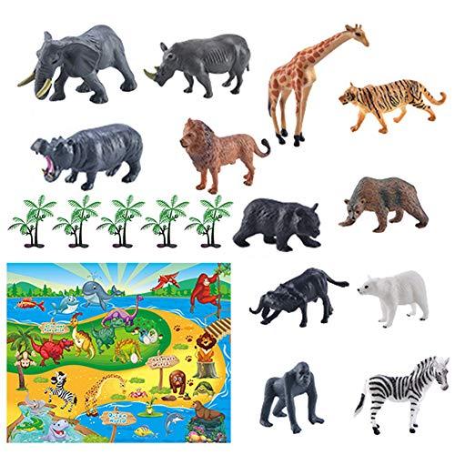 jingjing 2021 Nuevo regalo – 12 piezas de simulación modelo de escena de animales marinos alfombra de juegos dinosaurios juego de mapa (H)