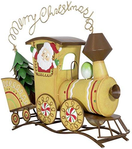 Weihnachtliche bunte Deko Lokomotive Metall / auf Schienen mit Wagon und Tannenbaum / Schriftzug Merry Christmas / Tisch- und Fensterdeko / ca.40cm / handbemalt / Trendyshop365