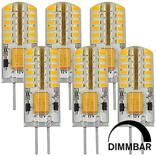 MENGS 6 Stück Dimmbar G4 LED Lampe 3W DC 12V Warmweiß 3000K 48x3014 SMD