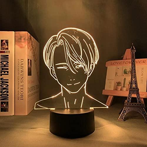 Yuri!!! on ICE - Señal de luz de anime japonesa LED 3D lámpara de ilusión de 16 colores, con mando a distancia, carga USB, decoración de dormitorio infantil, luz nocturna.