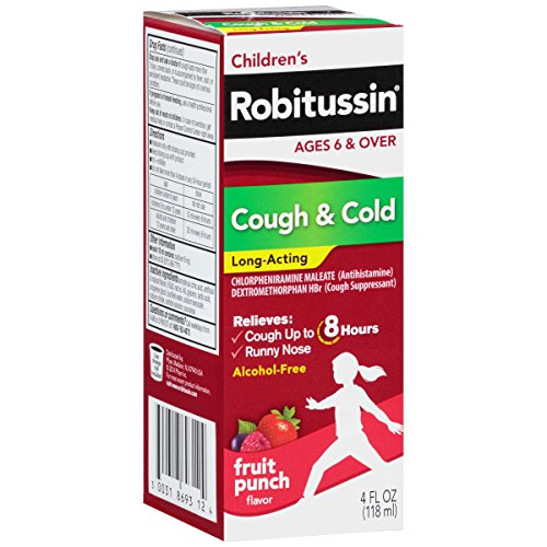 Children's Robitussin Cough Long-Acting (Fruit Punch Flavor), 8-Hour Cough Suppressant, Alcohol-Free Multicolor Cough & Cold, Fruit Punch, 4 Fl Oz (Pack of 1)