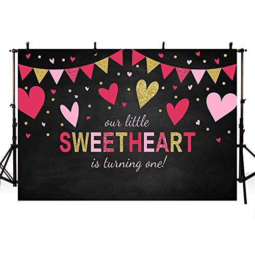MEHOFOTO Little Sweetheart One Birthday Black Photo Studio Background Pink Red Gold Hearts Girl Happy 1st Birthday Valentine Party Decoration Banner Backdrops for Photography 7x5ft