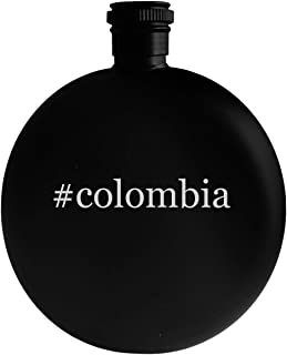 #colombia - 5oz Hashtag Round Alcohol Drinking Flask, Black