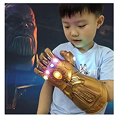 XXF Infinity Gauntlet Gloves PVC Infinity Glove led Infinity Stones Light Up Halloween Party Prop for Kids.