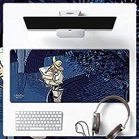 漫画 大型マウスパッド,ステッチされたエッジ ゴムベース キーボードパッド オフィスマット,抽象 印刷 ラップトップ用マウスパッド コンピューター Pc