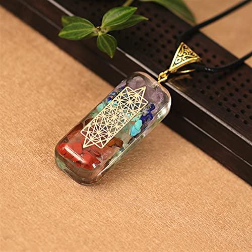 YSJJAXR Natuurlijke kristallen hanger 1 ST natuurlijke energie hanger ketting, mannen en vrouwen herstellen oude Reiki hars zeven ader orgone kristal ketting (kleur: oranje, maat: 1 st)