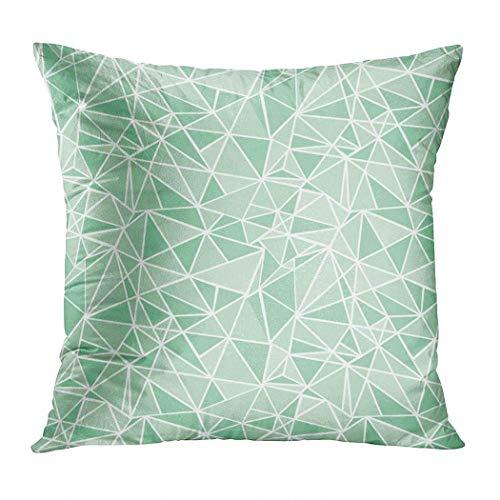 Simple funda de almohada, diseño geométrico de triángulos de mosaico verde menta, con cremallera oculta, elegante 45,7 x 45,7 cm, Simple07-40,6 x 40,6 cm