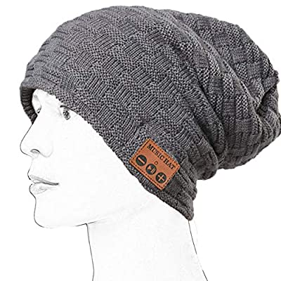 LiiFUNG Bluetooth Beanie Wireless Hat WZ028 – Headphone Beanie Hat with Upgraded Bluetooth 5.0 - Wireless Beanie Bluetooth Hat for Women Men Teens - Warm Knitted Fleece Music Hat - Built in Mic - Grey by WTIMES