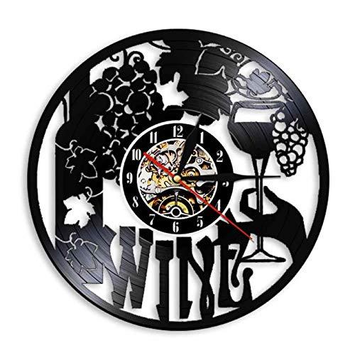 TeenieArt Bodega Botella Vidrio UVA Vino Reloj De Pared DIY Reloj De Pared Sin Marco Silencioso 3D Reloj De Pared De Decoración Creativa Decoración De La Oficina En Casa