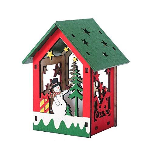 AzsfUfsa53 Assembled Cabin Creative DIY Assembled Painted Luminous Cabin Christmas Tree Pendant Xmas Decor Christmas Supplies Decorations B 1#