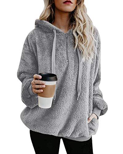 Yidarton Pullover Damen Hoodie Winter Lose Warm Kapuzenpullover Teddy-Fleece Langarm Oversize Sweatshirt mit Kapuze (Hellgrau-1, Large)