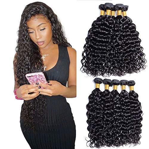 Maxine Virgin Malaysian Hair 4 Bundles 9A Grade Unprocessed Water Wave Malaysian Human Hair 4 Bundles Water Wave Virgin Hair Extension (22 24 26 28 In