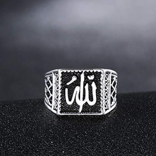 BLINGMC Fashion Men's Vintage Alloy Ring Jewelry Muslim Islamic Religion Allah Silver Ring(8)