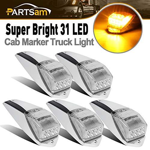 Partsam 5pcs Clear Lens 31LED Amber Cab Marker Top Roof Running Lights w/Chrome Base Compatible with Peterbilt/Kenworth/Freightliner//Western Star/Mack/International/Paccar Trailer Trucks