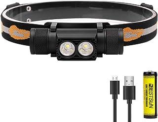 Lampe Frontale Rechargeable,Chargeur Secteur et Chargeur Voiture XML-T6,1000 Lumen Torche Frontale,3 Mode,Zoomable,Comprend Deux Batteries 18650 CSJ Lampes Frontales LED Puissante