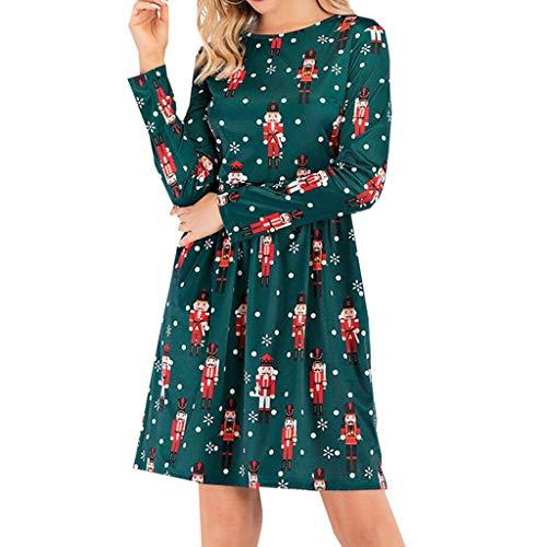 Noband Vestido de manga larga con cuello redondo para mujer de Navidad, vestido de línea A, estampado de...