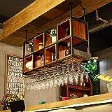 Ybzx Estante de Secado de Copas de Vino Estantes de Vino de Techo de Altura Ajustable Estilo Europeo Bar de Hierro Mayordomo Dispensador de Vino para Cocina/Bar/Estante de Restaurante