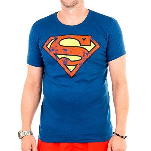 Logoshirt Tee-shirt avec logo vintage Superman Bleu royal Coupe ajustée L