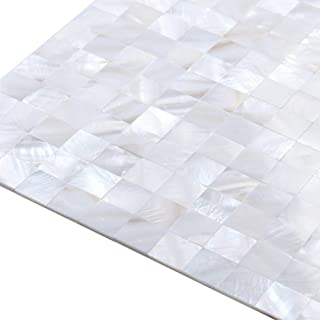 ZHANWEI 3D Wall Panels White Shell Mosaic TV Background Wall Bathroom Wallpaper (Color : 5 PCS, Size : 300x300mm)