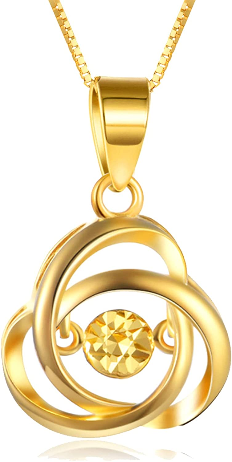18k Gold Love Knot Necklace for Women, Real Gold Box Chain with Pendant, Fine Anniversary Jewelry for Wife, Birthday Present for Her, 18 Inch