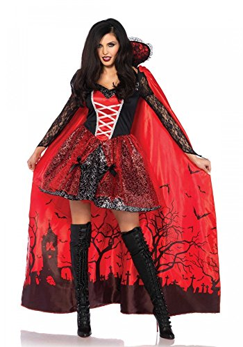 shoperama Disfraz de Drácula Vampire Temptress para mujer, con capa de Leg Avenue, talla M