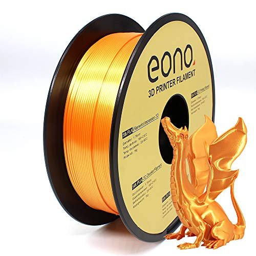 Amazon Brand - Eono Silk PLA 3D Printer Filament, 1.75mm, 1kg, Gold Color,Easy to Get Shinning & Smooth Surface like Silk, Good for Decorative Printing Models.