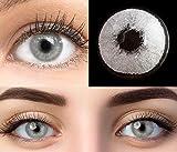 GLAMLENS lentillas de color -gris Pisa Grey + contenedor. 1 par (2 piezas) - 90 Días - Sin Graduación - 0.00 dioptrías - blandos - Lentes de contacto grises de hidrogel de silicona s