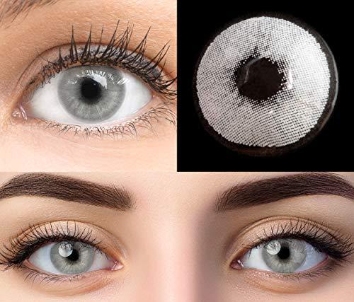 GLAMLENS Pisa Gray Grau + Behälter | Sehr stark deckende natürliche graue Kontaktlinsen farbig | farbige Monatslinsen aus Silikon Hydrogel | 1 Paar (2 Stück) | DIA 14.20 | Ohne Stärke