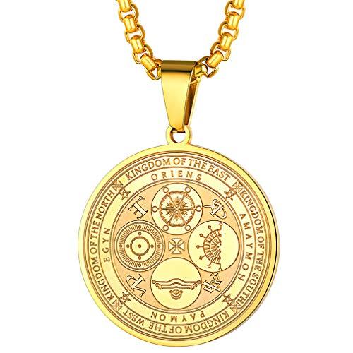 FaithHeart Colgante Acero Inoxidable Oro Amarillo Dorado Collar Cadena Ajustable Joyerías Cristianas de Regalo Milagroso Iglesia Medallón Circular Sello Cuatros Angeles Sigilo Santos Patrónes