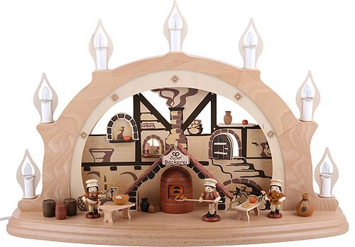 Authentic German Erzgebirge Handcraft Candle Arch Christmas Bakery - 57x38x15cm / 22x15x7 inch - Zeidler Holzkunst