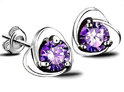 Hosaire 1 Pair Earrings Fashion Elegant Silver Purple Austria Crystal Stud Earrings for Women Fashion Jewelry Accessories