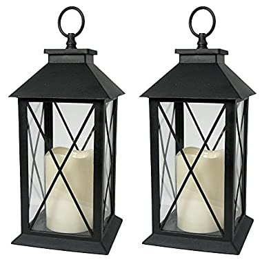 Black Decorative LED Lantern with Cross Bar Design - Pillar Candle with 5 Hour Timer Included - Hanging or Sitting Decoration - Set of 2-13  H