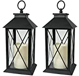 BANBERRY DESIGNS Black Decorative LED Lantern with Cross Bar Design - Pillar Candle with 5 Hour Timer Included - Hanging or Sitting Decoration - Set of 2-13' H