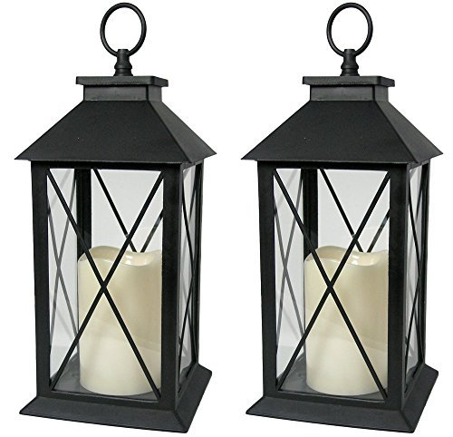 """Decorative Black Lantern - LED Flickering Flameless Pillar Candle with 5 Hour Timer Included - Indoor/Outdoor Lantern - 13"""" - Pack of 6"""