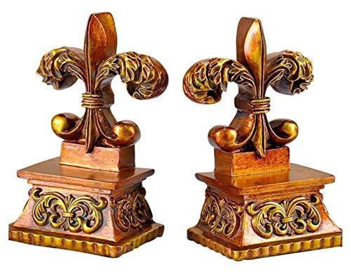 WQQLQX Statue Bookend Goldene Lily Blume Pflanze Skulptur Buchende Dekoration Zubehör Statue Harz Schwere Buchend, geeignet für Bücherregal Desktop Skulpturen