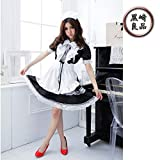 黒崎良品 大きいサイズ メイド服 コスプレ 男女共用 レディース 黒 セクシー かわいい かっこいい (5XL)