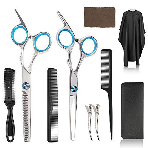 Haarschere set, 10 Stück Scheren-Sets, premium scharfe haarschneideschere, Effilierschere zum Ausdünnen und Strukturieren, Professionelle Edelstahl Friseur-Sets