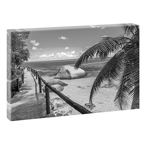 Seychellen - Holzsteg | Panoramabild im XXL Format | Kunstdruck auf Leinwand | Wandbild | Poster | Fotografie | Verschiedene Formate und Farben (120 cm x 80 cm, Schwarz-Weiß)