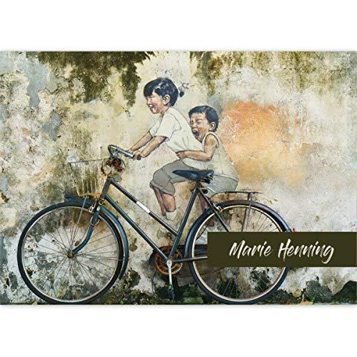 vrolijk streetart DIN A3 schilderblok graffiti motief fiets plezier • tekenblok schetsblok 25 vellen blanco, kopverlijmd, kwaliteitspapier 100 g/m2 - voor school, knutselen, hobby 4 Blöcke gepersonaliseerd