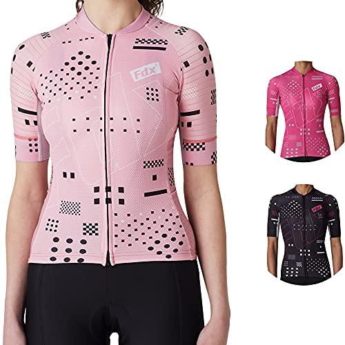 FDX Mujeres todo el día manga corta Maillot Ciclismo/babero corto, transpirable de secado rápido, traje de ciclismo de verano para señoras de ciclismo de carretera